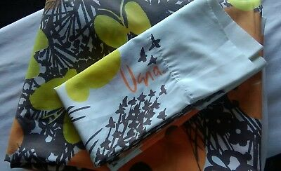 Vintage Vera Neumann Butterfly Full Flat Sheet Case Brown Yellow Orange Poppies