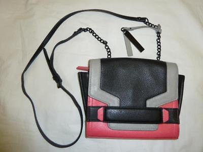 VINCE CAMUTO Leather Black~Gray~Hot Coral Colorblock Art Deco Organize Xbody Bag