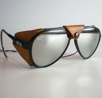 d3ea5ad63a Vintage Ray Ban CATS 8000 GLACIER Sunglasses aviator leathers mirrored black  58m