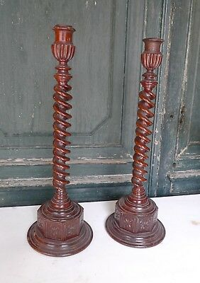 Antique Carved Wooden Barleytwist Stem Candlesticks.