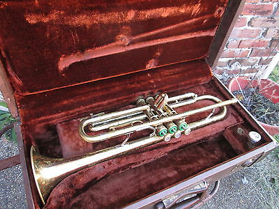 F. E. Olds & Son Ambassador vintage TRUMPET & Case / movie star prop