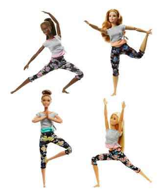Barbie Made to Move Floral Leggings Gray Top All 4 Dolls FTG84