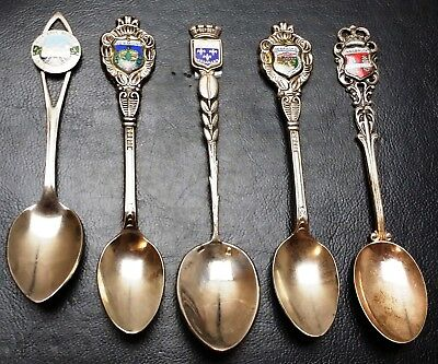 Vintage Lot of 5x Collectible Spoons with Enamel - Beautiful Antique Pieces