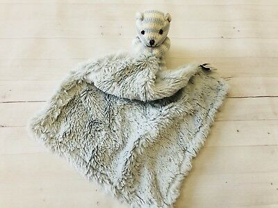 Restoration Hardware Baby & Child Blue Teddy Bear Stripes Security Blanket Lovey