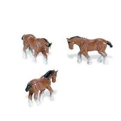 Doll House Shoppe 3 Toy Clydesdale Horse SL340922 Micro-mini Game pcs Miniature