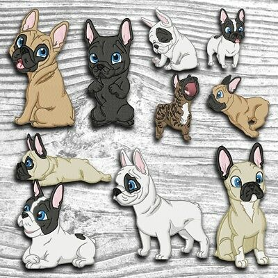 Cute Baby French Bulldog 10 Machine Embroidery Designs Cd 4 Sizes Included