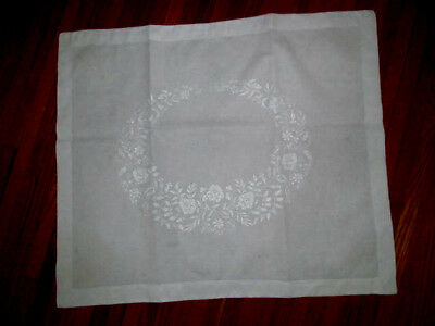 1 Antique Fine Embroidered Pillow Sham~Large Lay Over Style 34 x 28
