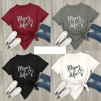 Womens Stretch V Neck Mom Life Letter Print Short Sleeve Blouse T-Shirts Q