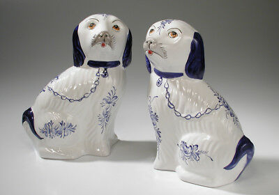 Vintage Pair of RCCL Portugal Porcelain Cavalier King Charles Spaniel Dogs 8.25""