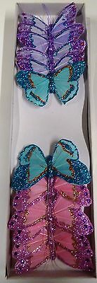 12 x  Feather Butterflies on Wire -  3 Colours  with glitter (Code 26 )