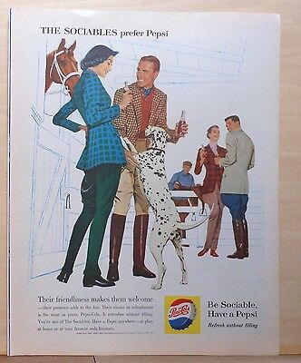 1960 magazine ad for Pepsi - The Sociables with dalmatian dog at stables