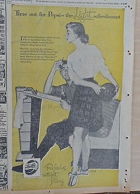 1957 newspaper ad for Pepsi - bowlers take time out for Pepsi, modern woman