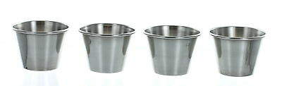 Lot of 4 Stainless Steel 2oz 60ml Condiment Sauce Cups Individual Portion