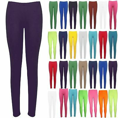 Ladies Womens Basic Plain Trousers Full Ankle Length Stretch Leggings Jeggings