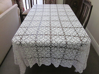 GORGEOUS SNOW WHITE HAND CROCHET LACE LONG RECTANGULAR TABLECLOTH 268 x 200cms