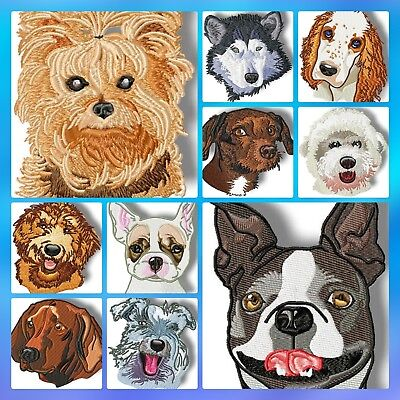 Doggie Profiles  20 Machine Embroidery Designs Cd 2 Sizes