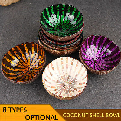 Colourful Eco-friendly Natural Coconut Shell Bowl Handicraft Art Work Decorate