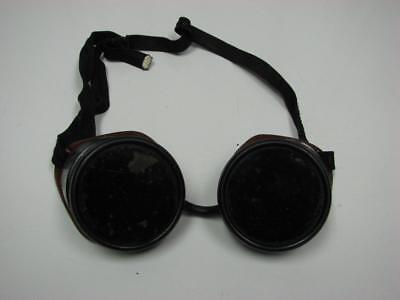 Vintage Welding Goggles - Swirled Brown Frames green lens military steampunk