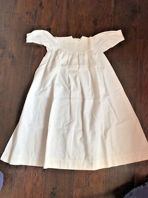 """Antique Vtg Baby Christening Gown White Cotton Pintuck Lace 30"""""""