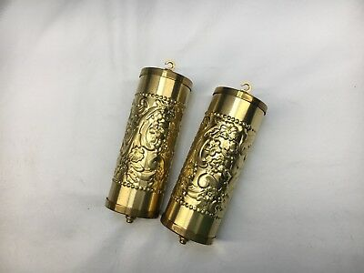 Fancy Brass Embossed Vienna Clock Weight Shells Set of 2 with weight Inserts