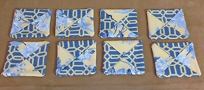 Eight Coasters, Hand Made, Blue, Yellow Floral Upholstery Fabrics