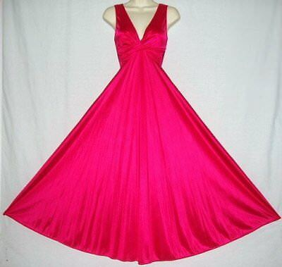 "Vtg Twist Bodice Olga Style Deep Fuchsia Pink 140"" Sweep Spandx Nightgown S To M"