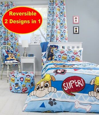 New Paw Patrol Boys Girls Blue Single Duvet Quilt Cover Set Bedroom Bedding Gift