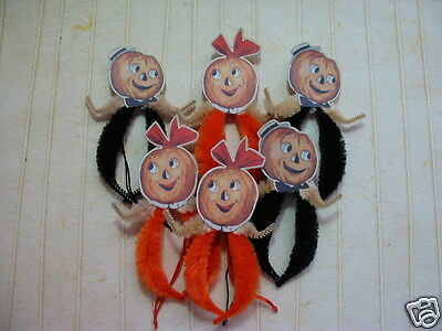 Primitive Vintage Style Halloween Pumpkin Couple Ornaments Chenille Feather Tree