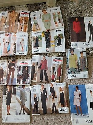 Lot of 10 Vintage Vogue Patterns- Uncut, Nice! Tamotsu, Klein, DKNY, Blass