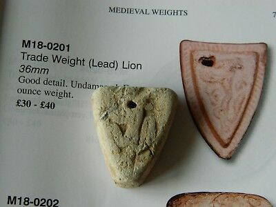 Medieval lead shield shaped trade weight lion artefact metal detecting detector