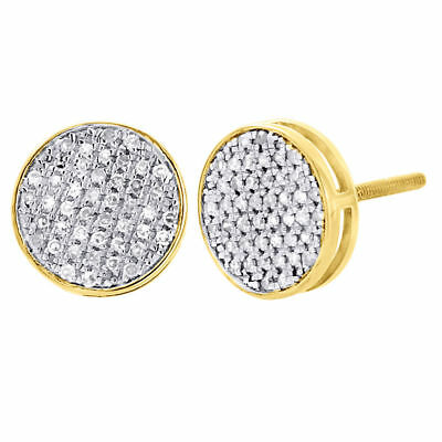 10K Yellow Gold Round Cut Diamond Flat Circle Pave Studs 10mm Earrings 0.40 Ct.