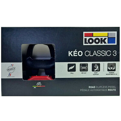 NEW 2018 LOOK KEO CLASSIC 3 Road Pedals with Gray Grip Cleats: BLACK/RED