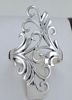 ELEGANT .925 STERLING SILVER LONG FILIGREE FLORAL RING size 6  style# r2208