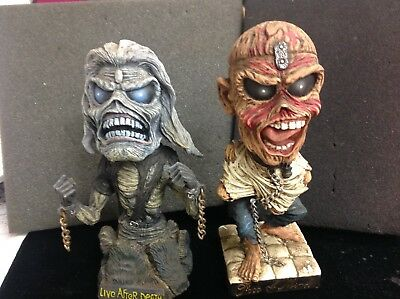 2  Head Knockers Iron Maiden Eddie Bobbleheads,Live After Death & Peace of Mind