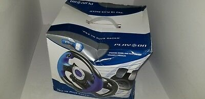 NEW PS2 V8 Plus Racer Racing Steering Wheel W/ Foot Pedals for PlayStation 2