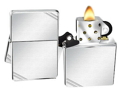 Zippo Lighter 230 Vintage Series 1937 With Slashes Brushed Chrome NEW