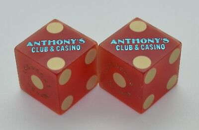 Casino Dice - Anthony's Club Las Vegas Nevada Red Dice Matching Numbers 1990's