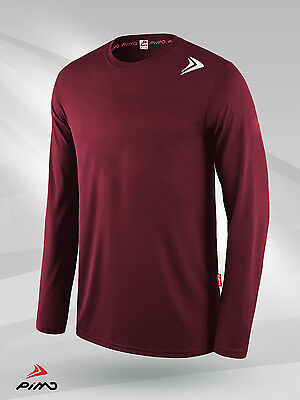 PIMD Vented Mens Long Sleeve T Shirt Burgundy Gym Muscle Top Tee Fashion