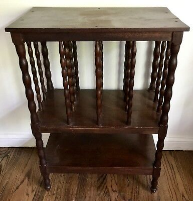 Antique Canterbury Plate Tray Rack Table J.I. Lescher Grayville Il