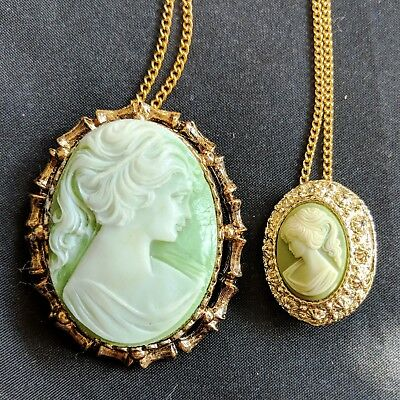 Beautiful Necklace Set Vintage Light Green Lady Head Cameo Pendant Brooch Pin