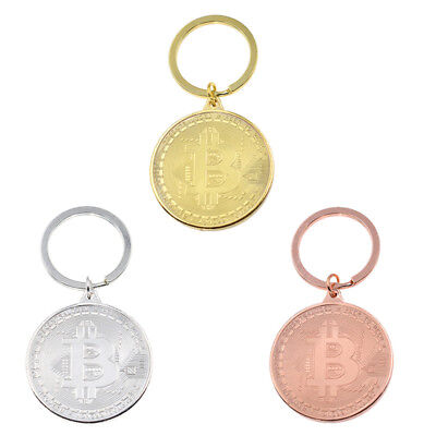 Physical Bitcoin Metal Key Ring Gold Silver Bronze Pendant Keychain Unisex Gift