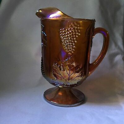 Glass Vase Amber Colored Grapes Leaves 10 Vintage Retro Antique