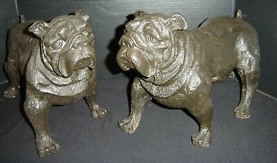 Antique Large Pair of Cast Iron Bulldogs Dogs Sculpture Figurines Superb.