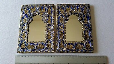Pair Old Cold Enamel Silver Qajar Style Persian Mirrors.