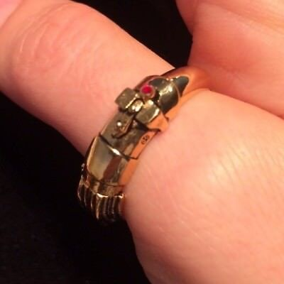 Han Cholo Star Wars Darth Vader Lightsaber Ring Gold Stainless Steel NEW!!