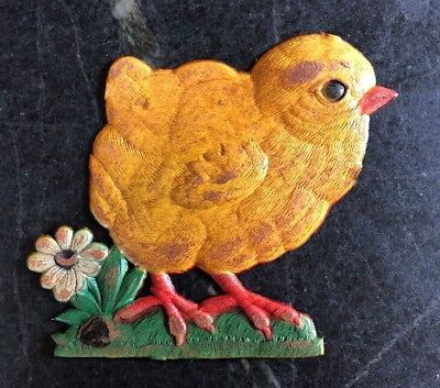 RARE Vintage Antique Large German Die Cut Embossed Chicken Chick Decoration