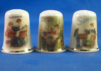 Fine Porcelain China Thimbles - Set Of Three Singer Sewing Ladies