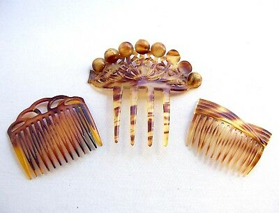 3 vintage hair combs faux tortoiseshell celluloid Art Deco