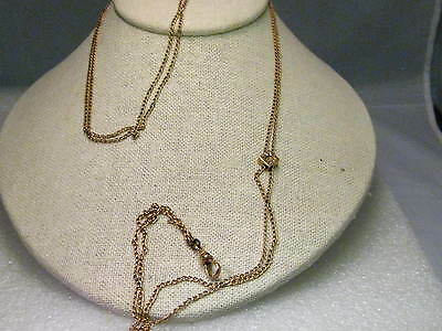 15kt Gold Victorian/Edwardian Watch or Lorgnette Chain with Slide singed CB