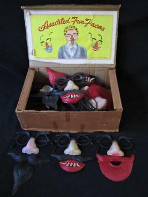 VTG NOS 1950's FUN DISGUISE FACES GLASSES HALLOWEEN MASK HONG KONG DISPLAY TOY